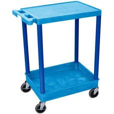 Heavy Duty Multi-Purpose Mobile Utility Cart with 1 Flat Shelf and 1 Tub Shelf - Blue - 24