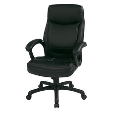 Work Smart Executive High-Back Eco-Leather Office Chair with Seat Adjustment - Black