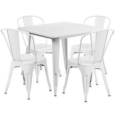 "Commercial Grade 31.5"" Square White Metal Indoor-Outdoor Table Set with 4 Stack Chairs"