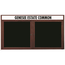 2 Door Enclosed Changeable Letter Board with Header and Walnut Finish - 36