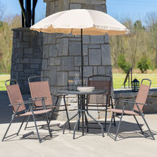 Nantucket 6 Piece Brown Patio Garden Set with Table, Tan Umbrella and 4 Folding Chairs
