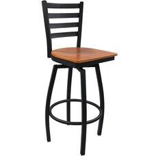 Advantage Ladder Back Metal Swivel Bar Stool - Cherry Wood Seat