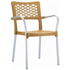 Bella Resin Stackable Dining Arm Chair with Aluminum Frame - Teak