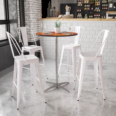 30'' Round Wood Cocktail Table with 30'' and 42'' Columns