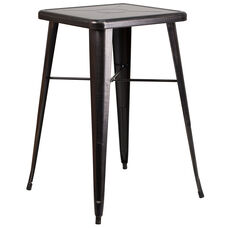 """Commercial Grade 23.75"""" Square Black-Antique Gold Metal Indoor-Outdoor Bar Height Table"""