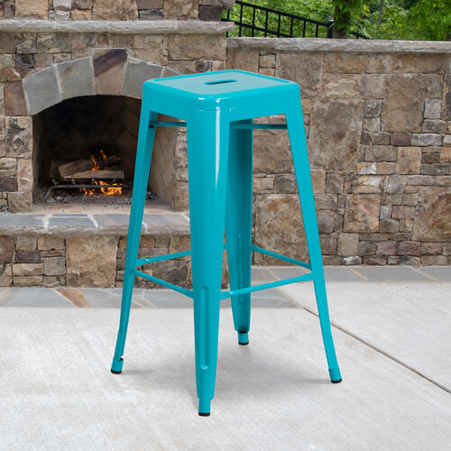 "Our Commercial Grade 30"" High Backless Crystal Teal-Blue Indoor-Outdoor Barstool is on sale now."