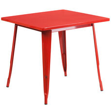 """Commercial Grade 31.5"""" Square Red Metal Indoor-Outdoor Table"""