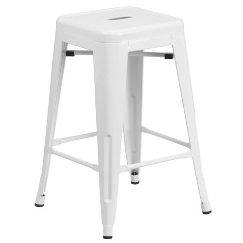 "Commercial Grade 24"" High Backless White Metal Indoor-Outdoor Counter Height Stool with Square Seat"