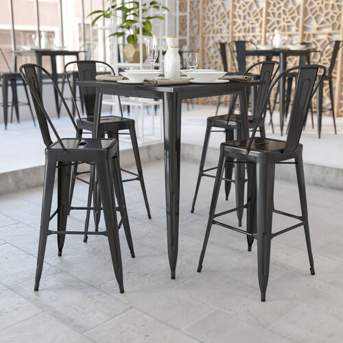 """Commercial Grade 31.5"""" Square Black Metal Indoor-Outdoor Bar Height Table"""
