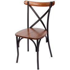 Henry Metal Cross Back Side Chair - Autumn Ash Wood Seat