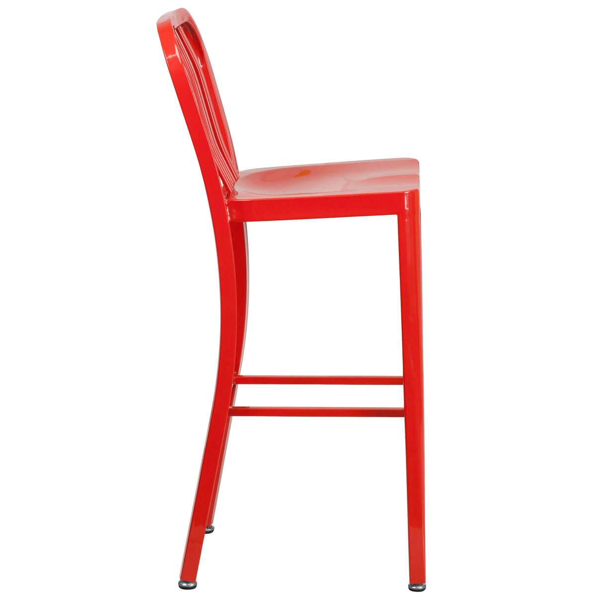 Our 30 High Red Metal Indoor Outdoor Barstool With Vertical Slat Back Is