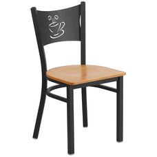 Black Coffee Back Metal Restaurant Chair with Natural Wood Seat