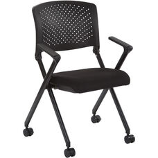 Work Smart Plastic Back Nesting Chair with Black Finish Frame - Set of 2 - Black Icon