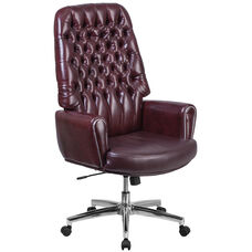 High Back Traditional Tufted Burgundy Leather Executive Swivel Office Chair with Silver Welt Arms