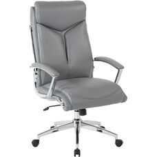 Work Smart Executive Faux Leather High Back Chair with Padded Arms - Charcoal Grey