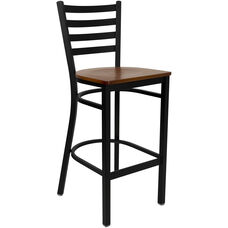 Black Ladder Back Metal Restaurant Barstool with Cherry Wood Seat