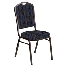 Embroidered Crown Back Banquet Chair in Canyon Tartan Blue Fabric - Gold Vein Frame