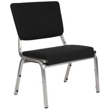 HERCULES Series 1500 lb. Rated Black Antimicrobial Fabric Bariatric Chair with 3/4 Panel Back and Silver Vein Frame
