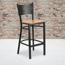 Black Coffee Back Metal Restaurant Barstool with Natural Wood Seat