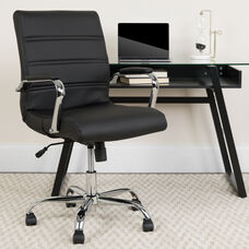 Mid-Back Black LeatherSoft Executive Swivel Office Chair with Chrome Base and Arms