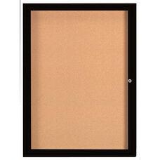 1 Door Indoor Enclosed Bulletin Board with Black Powder Coated Aluminum Frame - 48''H x 36''W