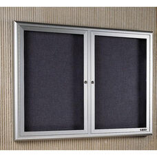 Classic Series Bulletin Board Cabinet with 2 Tempered Glass Locking Doors - 48