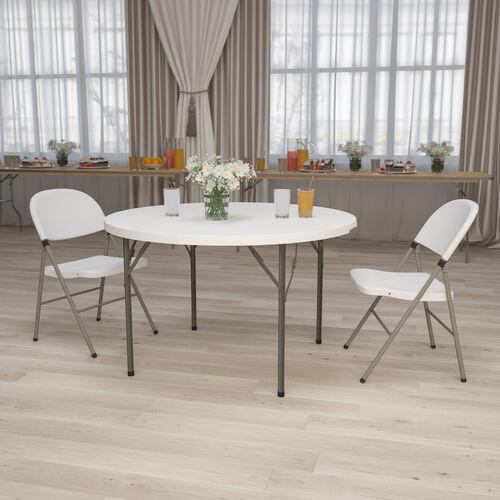 4-Foot Round Granite White Plastic Folding Table