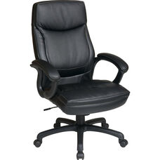 Work Smart Executive High-Back Eco-Leather Office Chair with Contrasting Stitch Pattern - Black