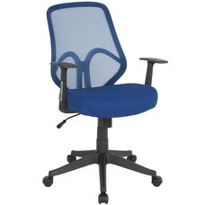 Salerno Series High Back Navy Mesh Office Chair with Arms