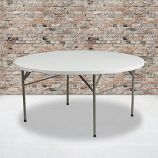 5-Foot Round Bi-Fold White Plastic Folding Table with Carrying Handle