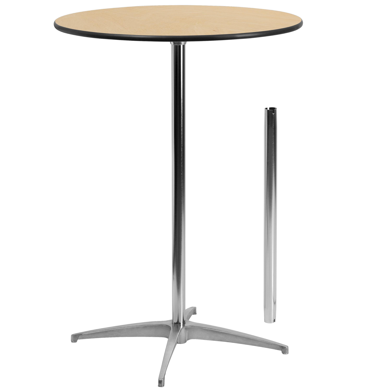 30u0027u0027 Round Wood Cocktail Table With 30u0027u0027 And 42u0027u0027 Columns