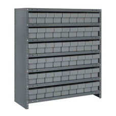 7 Shelf Closed Unit with 54 Drawers - Gray