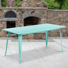 """Commercial Grade 31.5"""" x 63"""" Rectangular Mint Green Metal Indoor-Outdoor Table"""