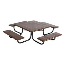 Thermoplastic Finished Steel Square Preschool Picnic Table with Round Perforations and Powder Coat Finished Legs - 46