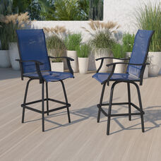Patio Bar Height Stools Set of 2, All-Weather Textilene Swivel Patio Stools and Deck Chairs with High Back & Armrests in Navy