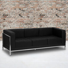 HERCULES Imagination Series Contemporary Black LeatherSoft Sofa with Encasing Frame