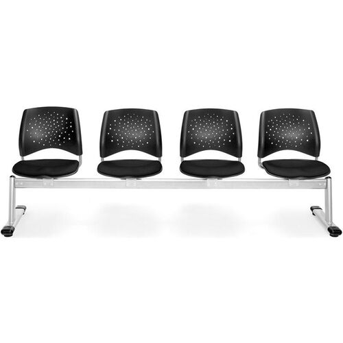 Stars 4-Beam Seating with 4 Fabric Seats - Black