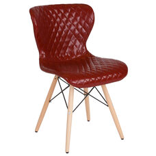 Riverside Contemporary Upholstered Chair with Wooden Legs in Red Vinyl