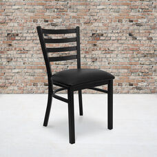 HERCULES Series Black Ladder Back Metal Restaurant Chair - Black Vinyl Seat