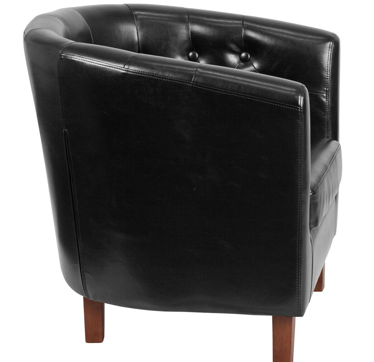 black leather barrel chair qy b16 hy 9030 4 bk gg
