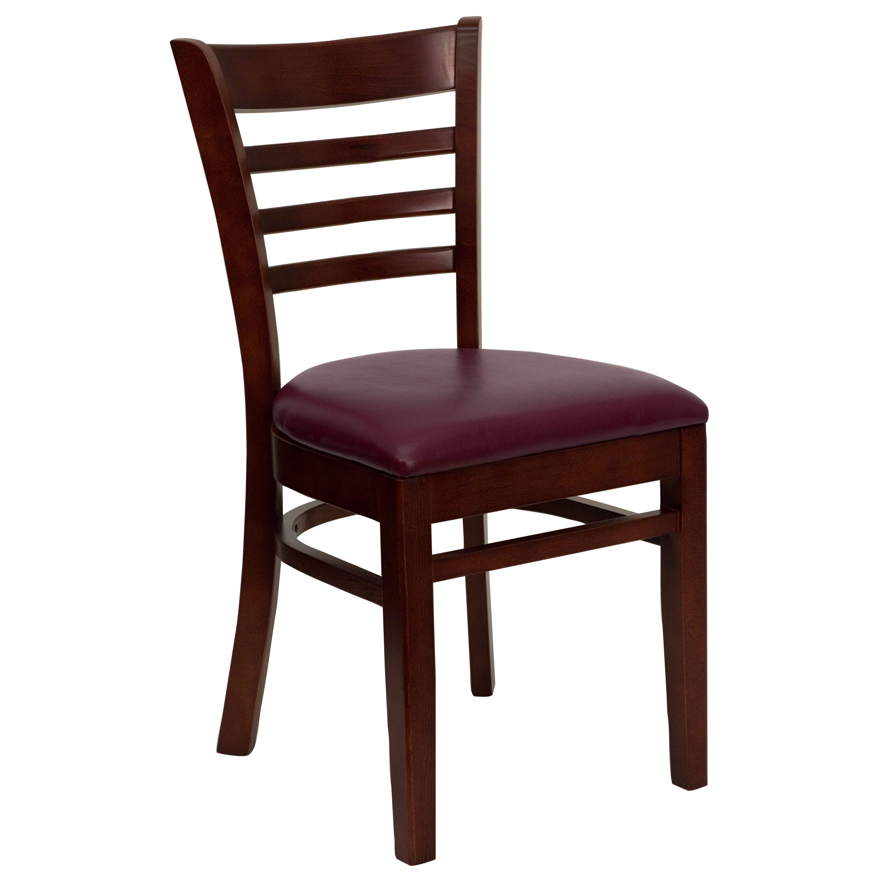 Mahogany Finished Ladder Back Wooden Restaurant Chair with Burgundy Vinyl Seat  sc 1 st  Restaurant Furniture 4 Less & RestaurantFurniture4Less: Wood Chairs