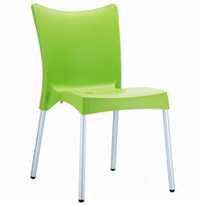 Juliette Outdoor Resin Stackable Dining Chair with Aluminum Legs - Apple Green