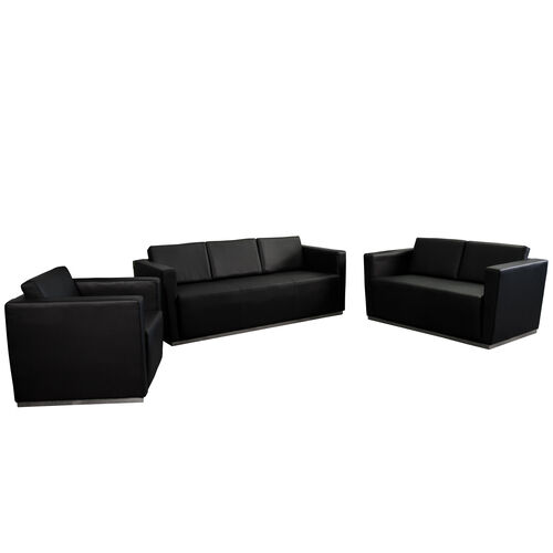 """Our HERCULES Trinity Series Reception Set in Black LeatherSoft with <span style=""""color:#0000CD;"""">Free </span> Tables is on sale now."""