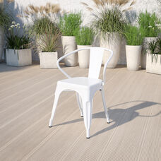 Commercial Grade White Metal Indoor-Outdoor Chair with Arms