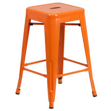 "Commercial Grade 24"" High Backless Orange Metal Indoor-Outdoor Counter Height Stool with Square Seat"