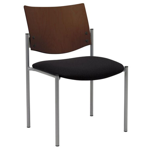 1300 Series Stacking Armless Guest Chair with Chocolate Wood Back - Grade 1 Upholstered Seat