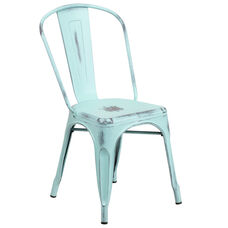Commercial Grade Distressed Green-Blue Metal Indoor-Outdoor Stackable Chair