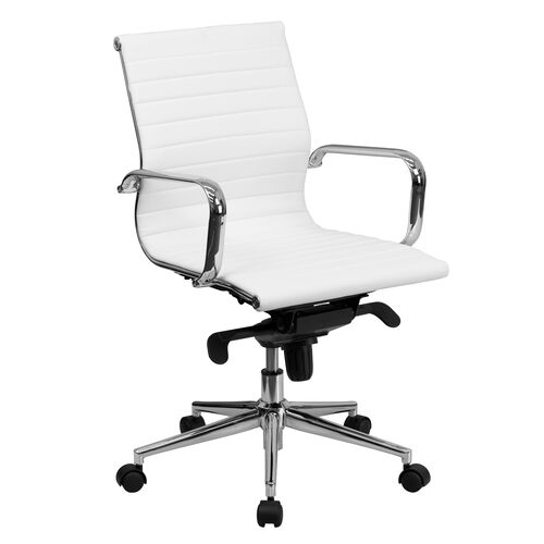 Our Mid-Back White Ribbed Leather Swivel Conference Office Chair with Knee-Tilt Control and Arms is on sale now.