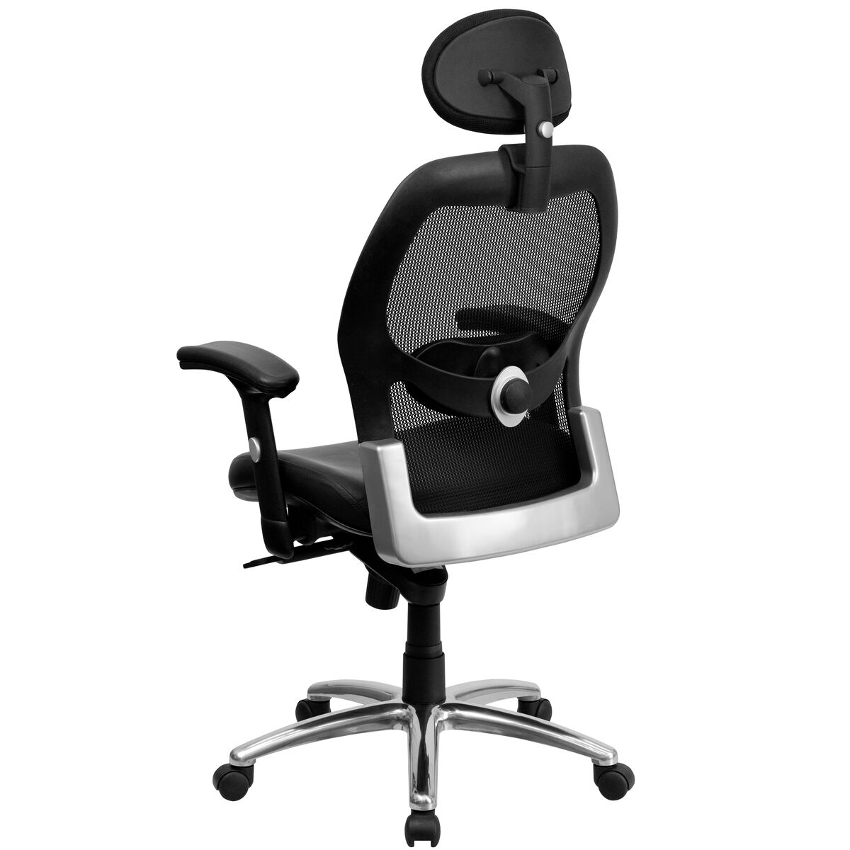 Black Mid Back Leather Chair Lf W42 L Hr Gg