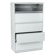 HON® 801 Series Five-Drawer Lateral File - Roll-Out/Posting Shelves - 42w x 67h - Lt Gray